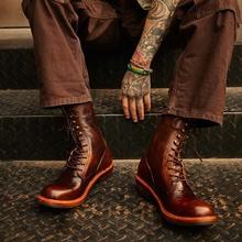 阿美咔mi美式复古棕sy工装马丁骑行皮靴男高帮长筒机车真皮鞋