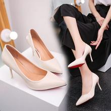 202mi春季新式性ta女鞋子浅口尖头高跟鞋漆皮细跟单鞋OL工作鞋