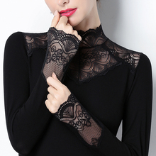蕾丝打mi衫立领加绒ta衣2021春装加厚修身百搭镂空(小)衫长袖女