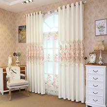 窗帘镂空绣花 客厅 高档雪尼尔提mi13简欧遮ta卧室成品定制