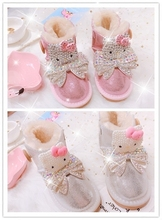 (小)多卡mikt猫玩偶hu地靴女真皮防水亲子式棉靴暖低筒靴