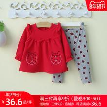断码清mi 婴幼儿女hu宝宝春装公主裙套装0-1-3岁婴儿衣服春秋