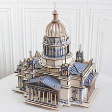 木制成mi立体模型减hu高难度拼装解闷超大型积木质玩具