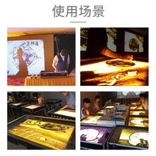 幼儿园mi童沙盘工具gi画学生教程彩沙画铝质灯箱有盖式