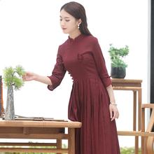 如意风mi袍改良款连di长袖汉服复古连衣裙女装民族长式中国风