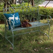 米蔻花mi铁艺桌椅 pn休闲简约长椅 阳台庭院做旧绿