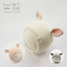 2021新式mi3女宝宝婴pn帽子春秋冬季毛线护耳兔子可爱超萌棉