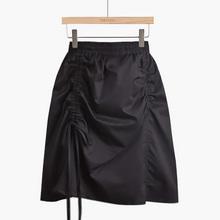 不规则ml裙2020it季韩款黑色高腰显瘦抽绳褶皱包臀半身裙女士