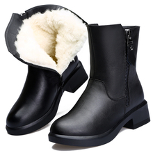 冬季女ml真皮羊毛靴it靴加绒加厚保暖妈妈鞋低跟防滑雪地靴女