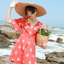 MintCheese独立设计ml11款少女lt花纹红色一片款裹裙连衣裙