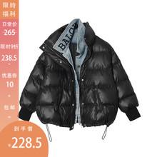 【9折ml欢价】面包xp秋冬2020新式假两件牛仔拼接短棉衣外套