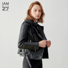 IAmmmIX27皮oo女式短式春季休闲黑色街头假两件连帽PU皮夹克女
