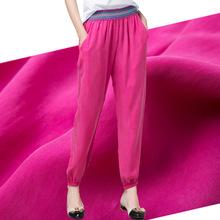 民族风mm021欧洲sn铜氨丝重磅真丝弹力腰大码宽松哈伦休闲女裤