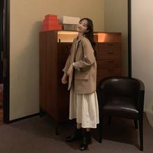 英伦风mm个子西装外yq2021新式女网红宽松法式休闲(小)西服上衣