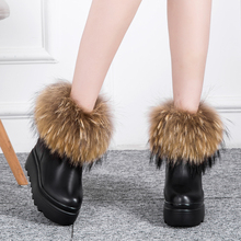 秋冬季mo增高女鞋真er毛雪地靴厚底松糕短靴坡跟短筒靴子棉鞋