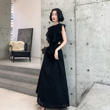 黑色晚mo服裙女新式le贵气质名媛气场女王长式连衣裙平时可穿