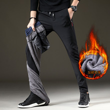 加绒加mo休闲裤男青co修身弹力长裤直筒百搭保暖男生运动裤子