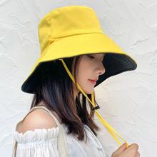 渔夫帽mo遮阳帽大帽en双面防晒防紫外线沙滩雏菊女士帽子韩款