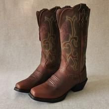 新品(小)mo头西部牛仔di牛皮刺绣骑士复古中筒马靴