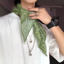 男丝巾mo方巾女夏薄di护颈复古日系文艺发带潮牌棉麻头巾围巾
