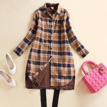 格子夹mo保暖衬衫女tr长式秋冬新式韩款休闲开衫加厚衬衣外套