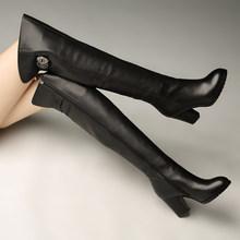 雪地意mo康正品真皮ab跟高跟骑士靴时尚舒适保暖绒里过膝长靴