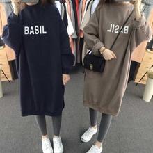胖妹妹mo018秋冬ib大码女装宽松显瘦韩款学生加绒连衣裙200斤