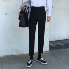 休闲裤mo西裤男直筒ve感(小)脚西装百搭韩款裤子九分裤垂感潮流