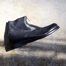 昱谷暗mo日系男靴 se鞣牛皮中筒靴 复古拉链皮靴 有好货