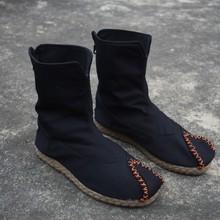 秋冬新mo手工翘头单se风棉麻男靴中筒男女休闲古装靴居士鞋