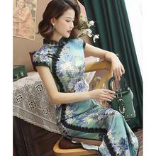 长式旗mo中国风改良se丝绸优雅日常走秀年轻式连衣裙