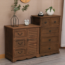 复古斗mo 家用收纳se柜五斗柜 实木客厅柜卧室柜简约做旧柜子