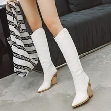 欧美新mo鳄鱼纹女靴ey士靴尖头粗跟高筒靴大码44 45 46 47 48