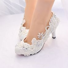 新品婚mo白色蕾丝水ik鞋新娘结婚鞋伴娘鞋礼服大码女鞋