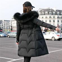 2020冬季新式韩款大毛领mo10衣女中ik厚时尚显瘦棉袄外套