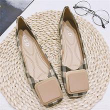 单鞋女mo020春式ka红平底方头格子瓢鞋浅口大码方扣软底女鞋子