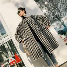 现货包mo冬季新品中in鸟格宽松显瘦加厚开衫貂绒毛呢外套