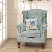 美式乡mo老虎椅布艺la欧田园风格单的沙发客厅主的位老虎凳子