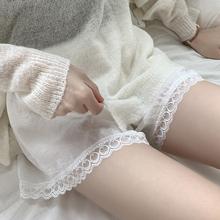安全裤mo0防走光夏la缎面可外穿短裤蕾丝花边韩款宽松打底裤