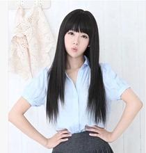 包邮假mo女生可爱发la松动漫cos假发长直发黑色齐刘海中长发