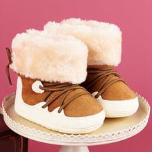 冬式婴mo鞋加厚男女la宝宝鞋宝宝雪地靴学步鞋高帮防滑保暖鞋