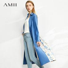 极简amoii女装旗la20春夏季薄式秋天碎花雪纺垂感风衣外套中长式
