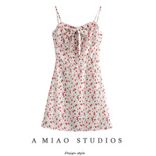 澳洲(小)mo夏季新式女sa碎花领口系带性感露背吊带裙连衣裙短裙