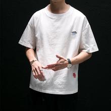 刺绣棉mo短袖t恤男sa宽松加肥加大码宽松半袖5分袖潮流男装夏