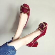 鞋遇女mo2020新gr单鞋韩款百搭漆皮方头网红色婚鞋粗跟高跟鞋