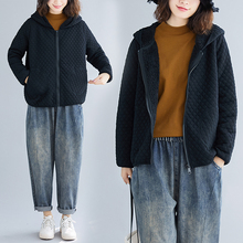 冬装女mo019新式po码加绒加厚连帽棉衣休闲百搭宽松拉链短外套