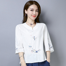 民族风mo绣花棉麻女te21夏季新式七分袖T恤女宽松修身短袖上衣