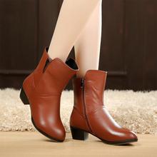 女短靴mo皮粗跟马丁te季单靴中筒靴舒适大码靴子中跟棉靴加绒