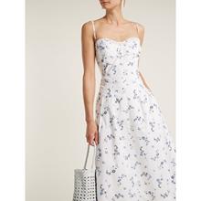 法式(小)mo设计(小)碎花tr抹胸连衣裙夏中长式长裙印花纯棉优雅仙