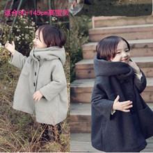 韩国童mo冬(小)孩女童ne套加绒加厚韩款呢大衣宝宝宝宝斗篷呢子